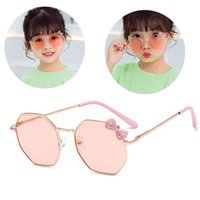 1 قطعة أزياء الفتيات القوس النظارات المعادن الإطار أطفال النظارات الأطفال في الهواء الطلق نظارات حزب نظارات لطيف نظارات الشمس بالجملة جديد