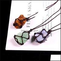 Necklaces & Pendants Jewelrylove Gift Natural Crystal Quartz Reiki Healing Chakra Gemstone Hand Woven Net Bag Rough Stone Large Particle Pen
