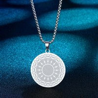Pendant Necklaces Gold Plated Spiritual Mandala Necklace For Women Tantra Sacred Buddhism Stainless Steel Jewelry Amulet Men Neckalce