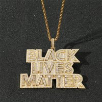 Hip Hop Iced Out Gold Plated Micro Paved Bling Zircon BLACK LIVES MATTER Pendant Necklace Rope Chain For Men Drop Necklaces
