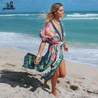 Spor benzeri Vintage Baskı Çiçek Plaj Örtüsü Yukarı Yaz Mayo Bikini Giyim Flare Sup Boy Bohemian Uzun Hırka 210406