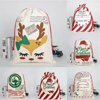 wedding gift bag Items DHL Christmas Santa Sacks Canvas Cotton Bags Large Heavy Drawstring Gift Bags Personalized Festival Party