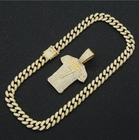 Chains Hip Hop Ronaldo 7 Jersey Full Rhinestone Pendant Necklace Women Man's Bling Gold Color Cuban Link Chain Rapper Jewelry