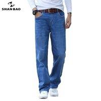 Shan Bao Spring Summer Lightweight Droite Droite Lâche Lâche Style Classique Stretch de haute qualité Stretch Mince Denim 210716