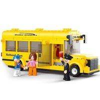 218 قطعة مدرسة حافلة diy كتل متوافقة الطوب نموذج مجموعة 3d البناء الطوب اللعب
