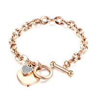 Fashion Love Bracelet Jewelry Stainless Steel Women Rose Gold Silver heart-shaped Charm Bracelets For Birthday Gift