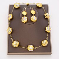GuaiGuai Jewelry Natural Freshwater White Biwa Pearl Coin 24 KT Gold Plated Necklace Earrings Sets Handmade For Women Real Jewlery Lady Fashion Jewellery