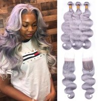 Human Hair Bulks Grey Highlight Bundles With Closure Body Wave 4x4 Brazilian Weaves Remy Extensions