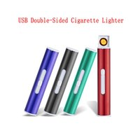 USB Double-sided Cigarette Switch Lighter Cigarettes Mini Protable Heater Strip Lighters Windproof Flameless Rechargeable Electronic for Smoking DHL