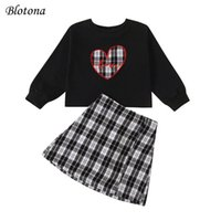 Clothing Sets Blotona Fashion Girls Set, Plaid Heart Print Long Sleeve Tops And Skirt 2Pcs For Vacation Birthday Valentine's Day 2-8Y