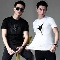 Herren T-shirts Slim Mercerized Baumwollvogeldruckte T-Shirt Kurzarm Rundhals-T-Shirt