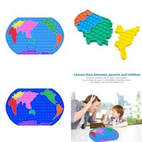 30cm Big Taille Carte du monde Bubble Poppers Board Fidge Toys Sensory Push Power Poo-Son doigt Puzzle Mega Jumbo Doigt Fun jeu de bureau Soulagement de stress G575G6W