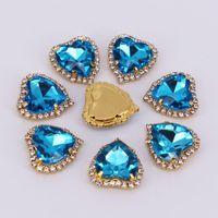 Wedding Sashes 20pcs lot Heart Shape Rhinestone Button Metal Brooch Diamond Flatback Embellishment For Hair Ribbon Craft Decor