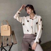 النساء البولكا نقطة الربيع الشيفون بلوزة أنثى شيك قميص الكورية نمط بسيط عارضة التلبيب طويلة الأكمام قمم والبلوزات