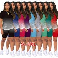 Kadın Eşofman Tasarımcısı Giyim Degrade 2 İki Parçalı Kıyafetler Koşu Takım Elbise Bayanlar Rahat Şort Pantolon Artı Boyutu Giyim 836-1