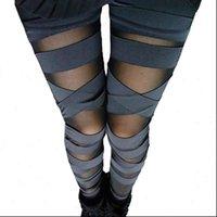 Bandage Charming Leggins Slim Punk Women Legging Legins Sexy Splicing Pants Stretch Black Trousers Patchwork