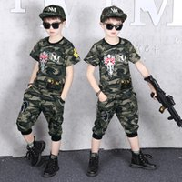 Toddler Short Set Boys Camouflage Kids Sport Suit Short Sleeve Tshirts and Pants Outfits Summer Children 2 Piece Sets 8 To 12Yrs