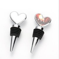 DIY Sublimation Bottle Stopper with Blank Aluminum Sheets Heart Shaped Metal Wine Stoppers Party Wedding Favors Gift JJA188