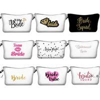 Ny digital tryckt brudtärna sminkväska Team Bride Tribe Att vara smink Presentväska Förslag Bröllop Bachelorette Party Cosmetic Peuch EWB5191