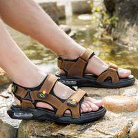 Sandals Misalwa Platform Natural Genuine Leather Men Summer Outdoor Cushion Original Beach Shoes 38-46 Concise White Color