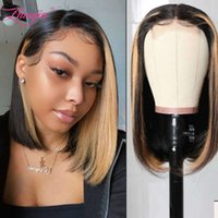 wigs Highlight Straight Lace Front Prune Short Honey Blonde Bob Pruik Brown Femme Human Hair s For Women Pre plucked Burgundy