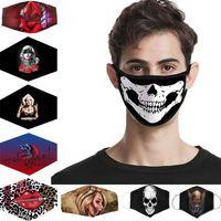Estoque dos EUA! Halloween 3D Party Cosplay Lavável Joker Face Máscara Digital Impressão Máscaras de Proteção de Halloweens