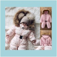 Одежда для одежды ребенка, дети родильный густой снег носить малыш ребёнок девушка зимний ползунок куртка с капюшоном детская белая одежда комбинезон пальто наряд