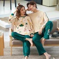 Forply amantes pijamas 100% algodão pijama manga cheia dos desenhos animados casal pijama para mulheres sleepwear conjuntos de inverno pijama mujer