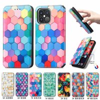 Rainbow Lattice PU TPU Leather Wallet Cell Phone Cases Cover Magnetic Absorb Flip for iPhone 6 7 8 Plus XS XR X 11 12 13 Pro Max