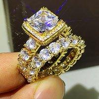 Köpüklü Lüks Takı 925 Ayar SilverGold Dolum Prenses Kesim Beyaz Topaz CZ Elmas Taşlar Kadınlar Düğün Gelin Yüzük Set Hediye