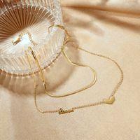 Korean fashion titanium steel Love Pendant multi layer English letter necklace versatile clavicle chain personality neck ornament girl