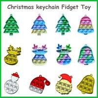 Kerst Fidget Speelgoed Sleutelhanger Ghost-vormige Partij Gunst Ultime Rainbow Push Bubble Silicone Decompressie Dimple Sensory Speelgoed Geschenken voor kinderen