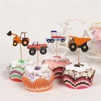 24шт мультфильм автомобильный грузовик кекс топперы выбирает день рождения детское Душевое декор Душ Другие праздничные принадлежности