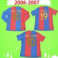barca Barcelona jersey # 10 호나우딩요 년 2006 년 2007 년 레트로 축구 저지 가정 클래식 빈티지 축구 셔츠 # 19 메시, 사비 데코 Camiseta 드 푸 웃 06 07 구드욘센