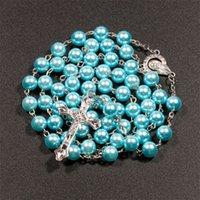 7 цветов религиозные католические ожерелья розарии Иисус крест подвеска длинные 8 мм цепи бусины для женщин мужчин христианский подарок ювелирных изделий 88 к2