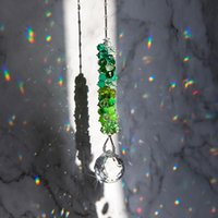 HD Crystal Ball Prism Drops SunCatcher Handmade Grânulos Verdes Corrente Pendão Janela Pendurar Rainbow Maker Collection Gift Garden Decorat