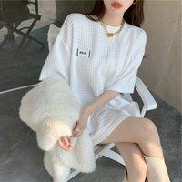 Tamaño grande y grasa MM2021 Verano Nuevo desgaste mediano longitud media camiseta de manga corta suelta de la ropa interior de las mujeres