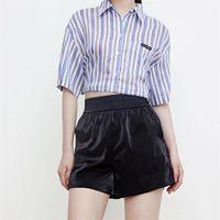 Women's Blouses & Shirts MESTTRAF Women 2021 Fashion Striped Lacing Short Loose Blouse Retro Lapel Sleeve Pocket Streetwear