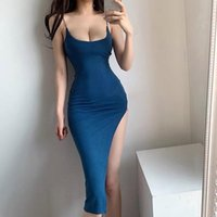 Casual Dresses Summer Dress 2021 Backless Sexy Night Club Blue Open Back Corset Bodycon Y2k Strap Tank Midi Asymmetrical Slit