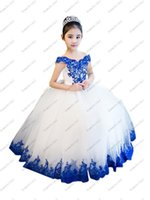 Girl's Dresses 2021 Elegant White And Royal Blue Lace Ball Gown Tulle Off Shoulder Flower Girl For Wedding Party Juniors With Sleeves