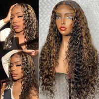 Kıvırcık İnsan Saç Peruk Bal Sarışın Ombre 13x4 Brezilyalı Kahverengi Renk Derin Su Dalga HD Frontal Vurgulamak Bob Dantel Ön Peruk