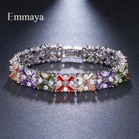 Emmaya Brand Elegance Charm Cubic Zircon Multicolor Plant Crystal Bracelets For Women Jewelry Wedding Party Gift Link, Chain