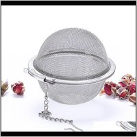Coffee Kitchen Dining Bar Home Garden 304 Stainless Steel Strainer Pot Infuser Mesh Ball Filter With Chain Tea Maker Tools Drinkware D