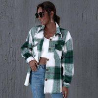 Women's Jackets 2021 Autumn Casual Plaid Shirt Women Coats Buttons Pockets Female Coat Streetwear Ladies Spring Loose Outerwear