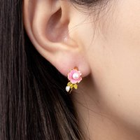 Hoop & Huggie Jaeeyin 2021 Arrivals Fashion Jewelry Pink Flower Green Leaf White Pearl Earrings Stud Ear Rings Gold Color Enamel Cute