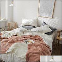 Decken Textilien Home Garten Produkt gestrickt Plus Fleece doppelseitige Farbe Matching Decke Hohe Qualität Warze Sofa Wurfbett Er Tropfen Del
