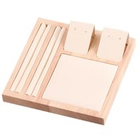 Solid Wood Natural Square Earrings Display Tray, Ring Storage Jewelry Stand Pouches, Bags