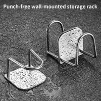 Hooks & Rails Kitchen Storage Rack Stainless Steel Bathroom Sponge Holder Wall Mounted Cling Film Shelf Sink Accessories