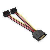 Câbles de 15 cm 90 degrés SATA à 15 broches mâles à 2 x 15p femelle Y adaptateur de séparateur Câble d'alimentation pour ordinateur PC