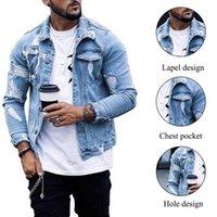 Men's Jackets Autumn And Winter 2021 Jacket Fashion Casual Denim Men Plus Size Blue Color Lapel Ripped Jean